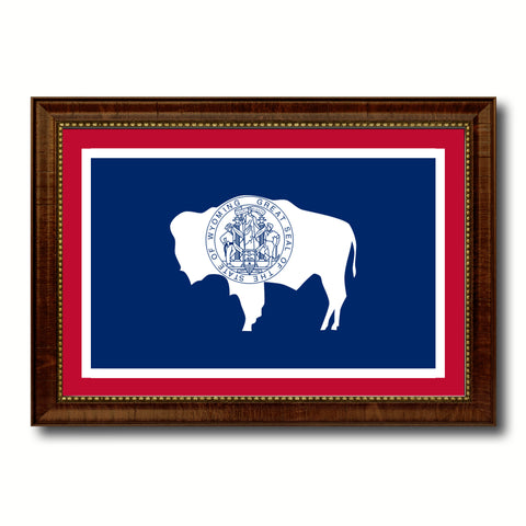 Wyoming State Flag Canvas Print with Custom Brown Picture Frame Home Decor Wall Art Decoration Gifts