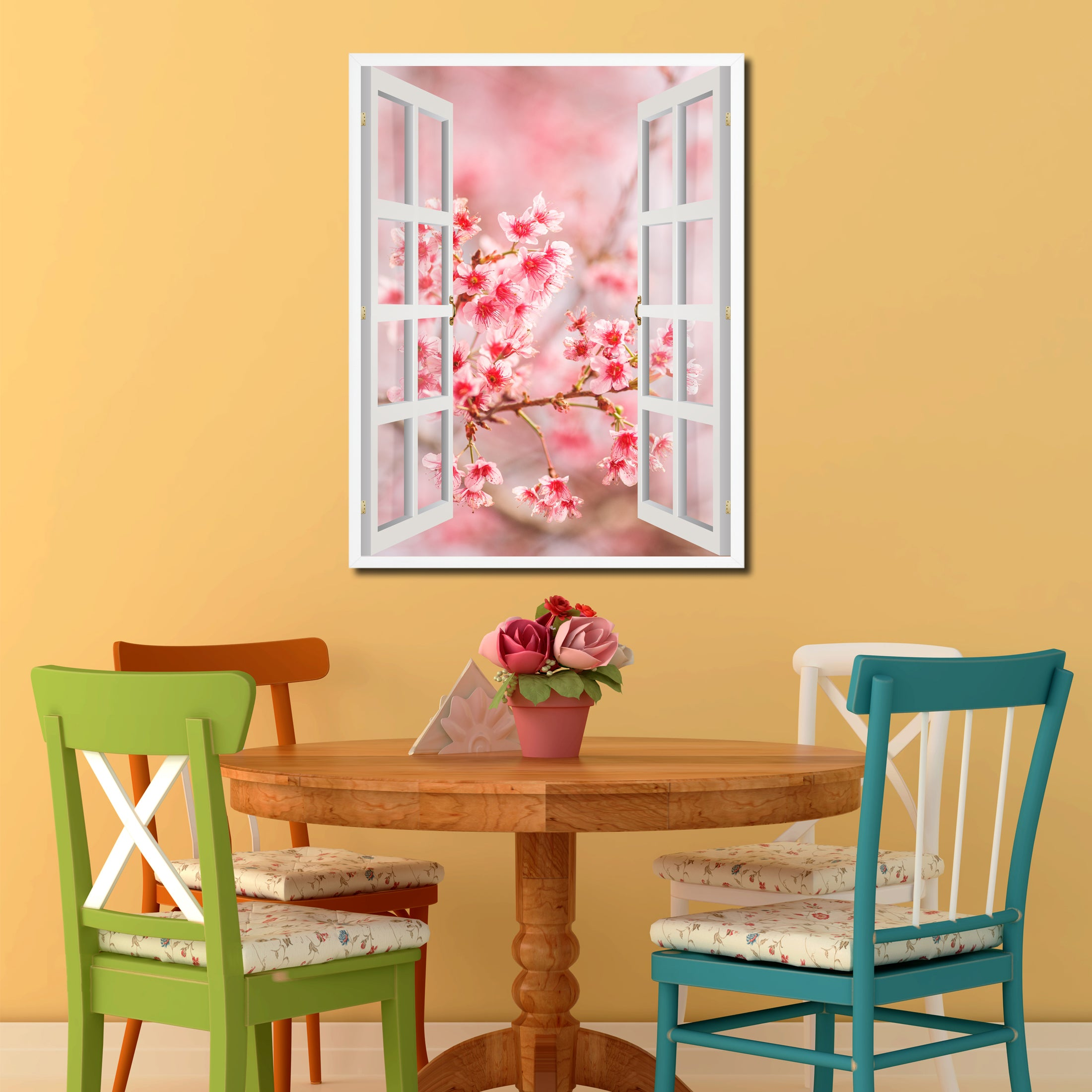 Cherry Blossom Beautiful Flower Picture Window Wall Art Home Decor ...