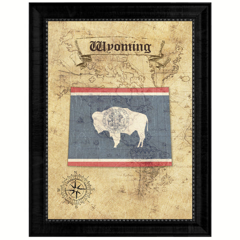 Wyoming State Vintage Map Gifts Home Decor Wall Art Office Decoration