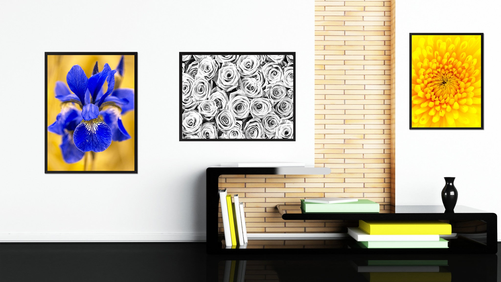 White Roses Flower Framed Canvas Print Home Décor Wall Art