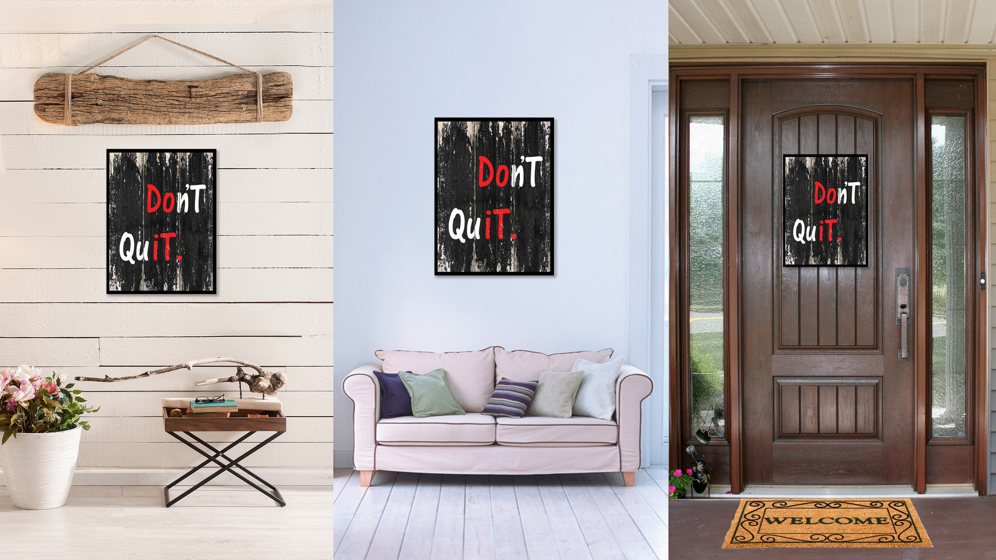 Don't quit Motivational Quote Saying Canvas Print with Picture Frame Home Decor Wall Art