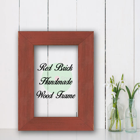 Red Brick Shabby Chic Home Decor Custom Frame Great for Farmhouse Vintage Rustic Wood Picture Frame