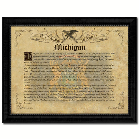 Michigan Vintage History Flag Canvas Print, Picture Frame Gift Ideas Home Décor Wall Art Decoration