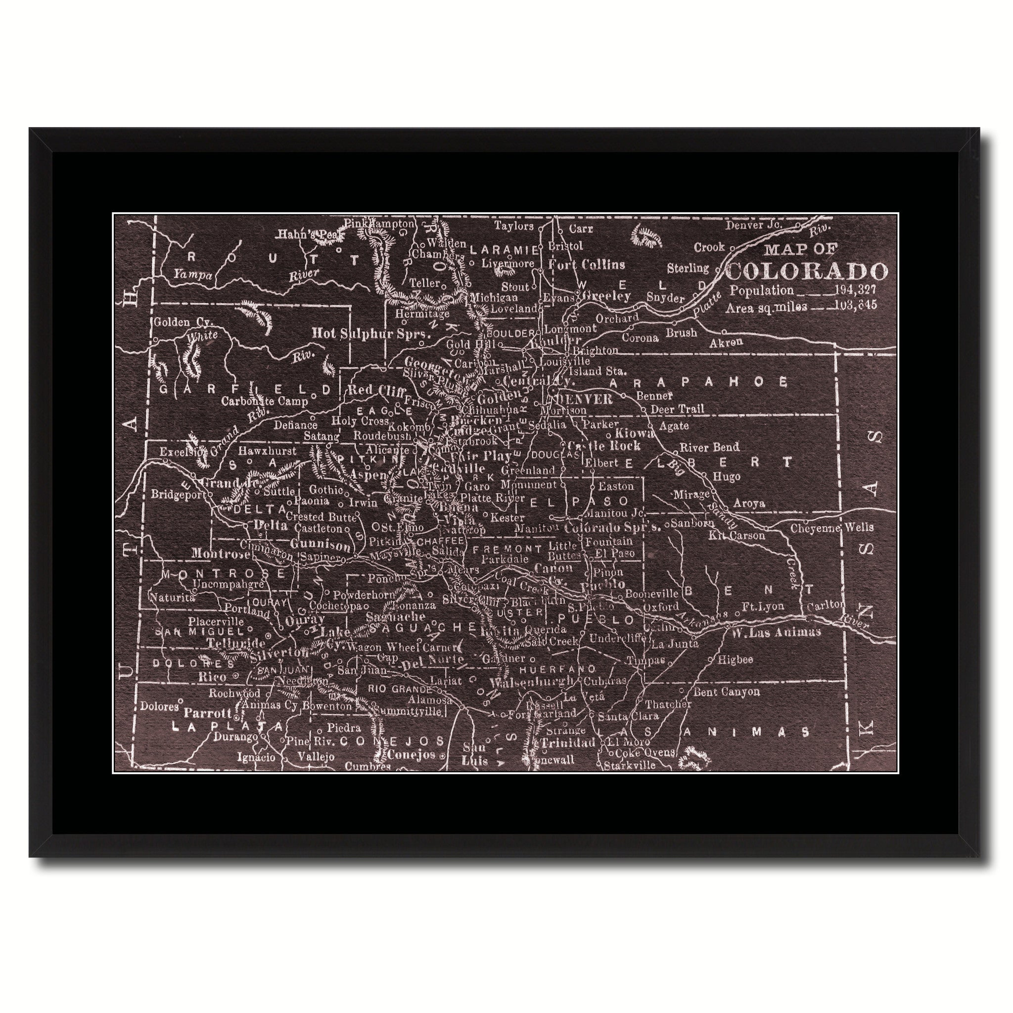 Colorado Vintage Vivid Sepia Map Canvas Print, Picture Frames Home Decor Wall Art Decoration Gifts