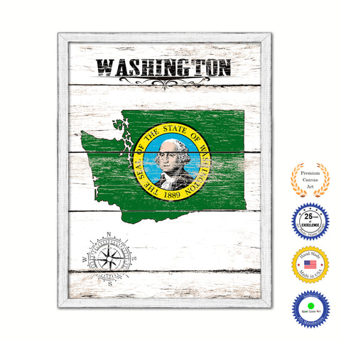 Washington Flag Gifts Home Decor Wall Art Canvas Print with Custom Picture Frame