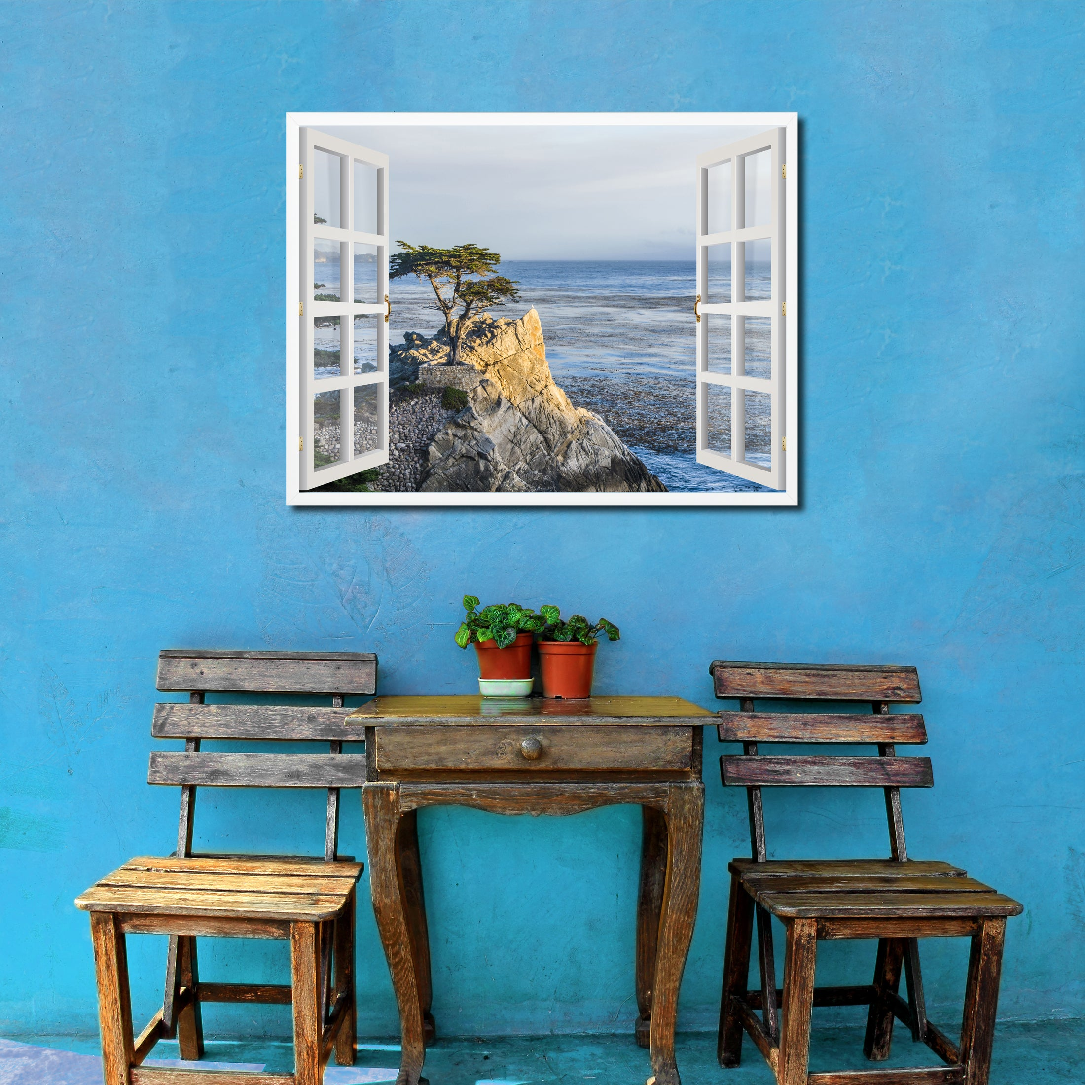 Monterey Beach View Picture French Window Framed Canvas Print Home Decor Wall Art Collection