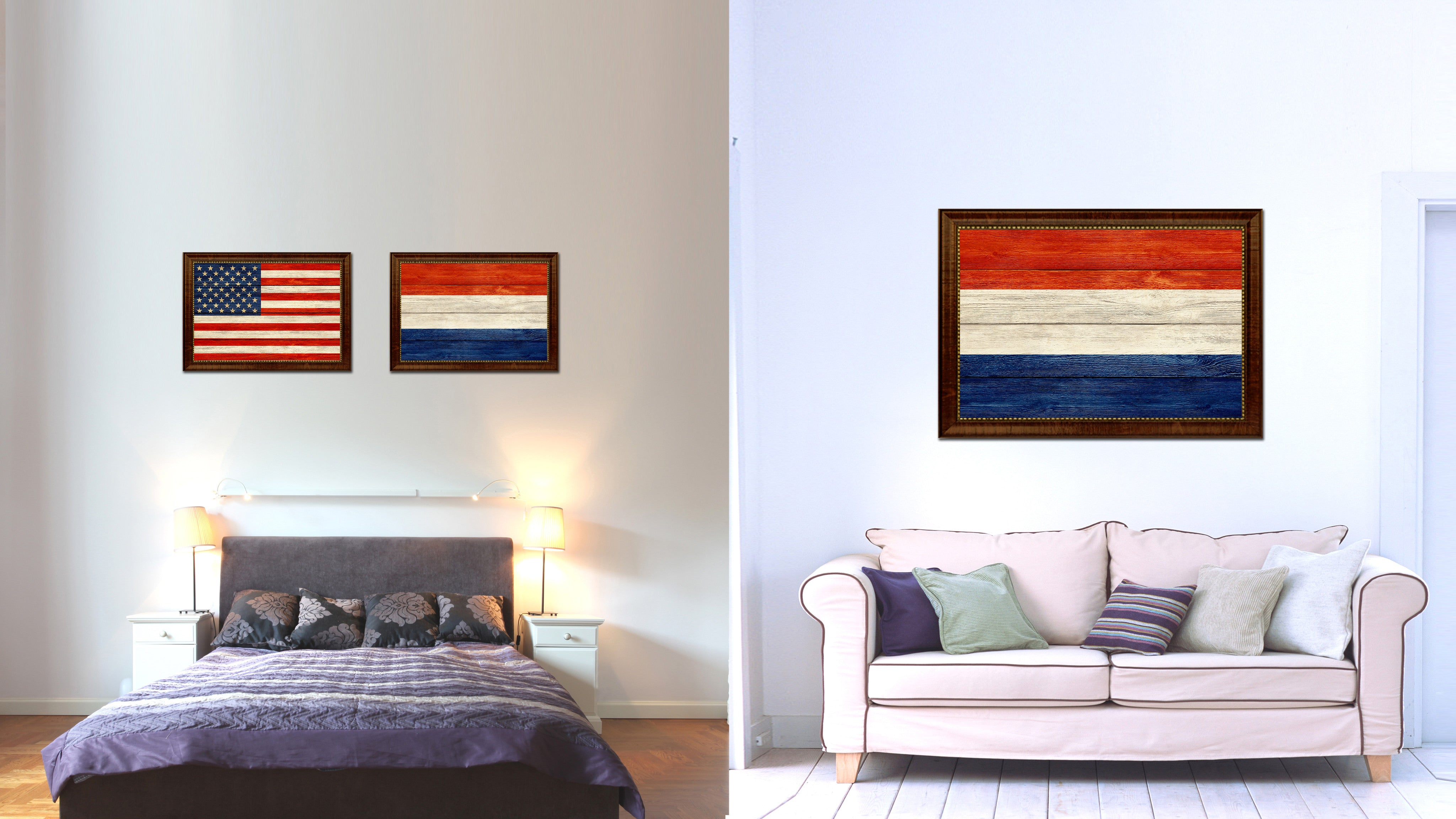 Netherlands Country Flag Texture Canvas Print with Brown Custom Picture Frame Home Decor Gift Ideas Wall Art Decoration