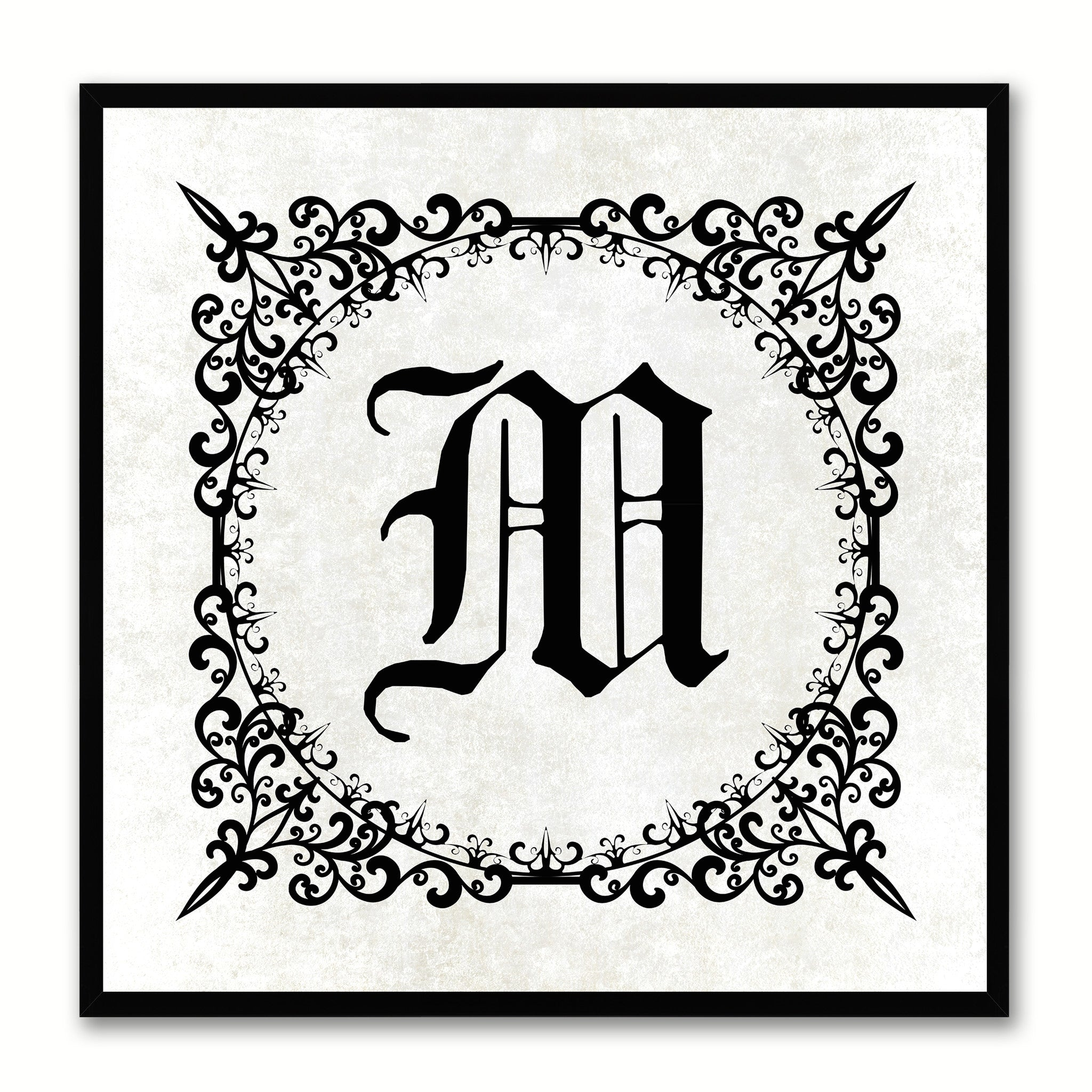 Alphabet M White Canvas Print Black Frame Kids Bedroom Wall Décor Home Art