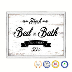 Fresh Bed & Bath Vintage Sign Gifts Home Decor Wall Art Canvas Print with Custom Picture Frame