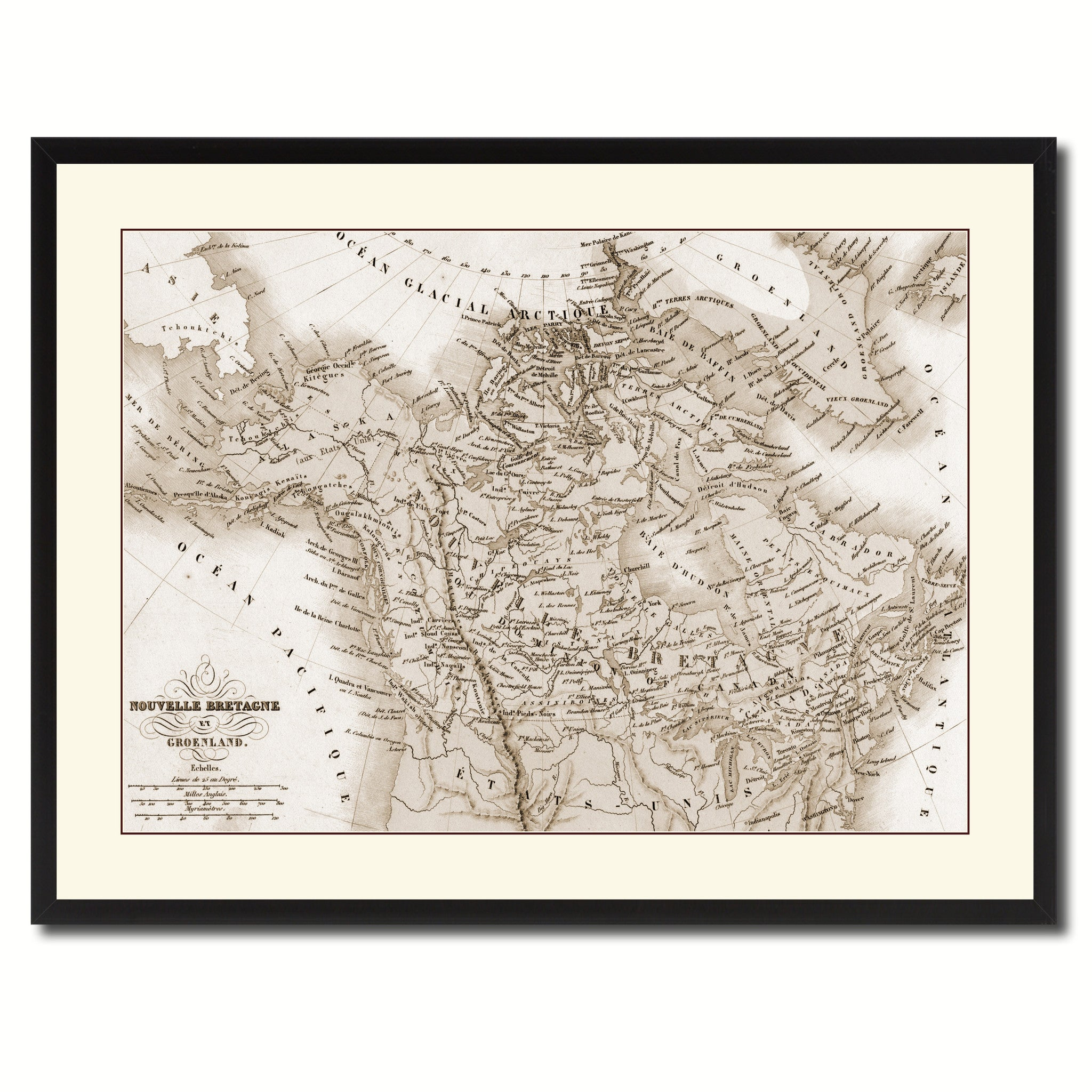 Canada Alaska Vintage Sepia Map Canvas Print, Picture Frame Gifts Home Decor Wall Art Decoration
