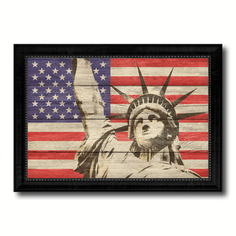 Statue of Liberty American Flag Texture Canvas Print with Black Picture Frame Home Decor Man Cave Wall Art Collectible Decoration Artwork Gifts