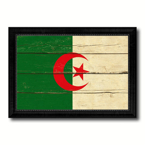 Algeria Country Flag Vintage Canvas Print with Black Picture Frame Home Decor Gifts Wall Art Decoration Artwork