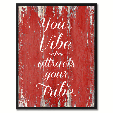 Your vibe attracts your tribe Inspirational Quote Saying Framed Canvas Print Gift Ideas Home Decor Wall Art, Red
