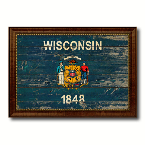 Wisconsin State Vintage Flag Canvas Print with Brown Picture Frame Home Decor Man Cave Wall Art Collectible Decoration Artwork Gifts