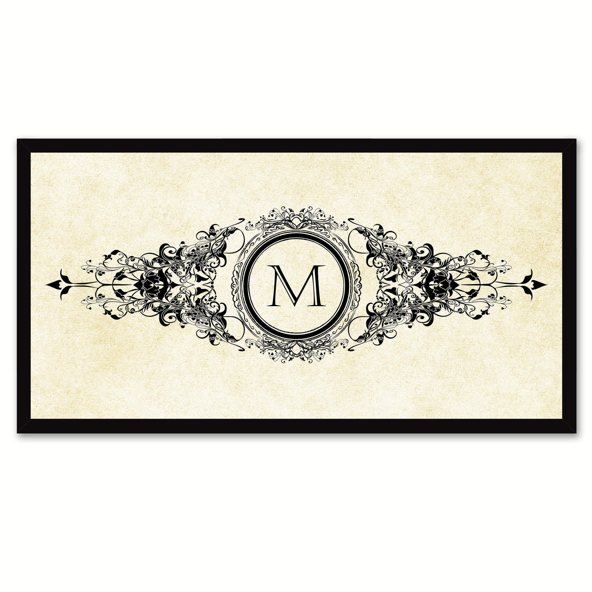 Alphabet Letter M White Canvas Print, Black Custom Frame