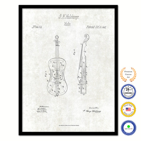 1862 Violin Old Patent Art Print on Canvas Custom Framed Vintage Home Decor Wall Decoration Great for Gifts