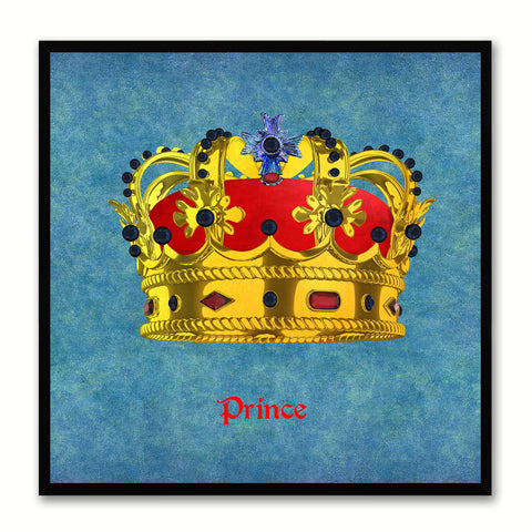 Prince Blue Canvas Print Black Frame Kids Bedroom Wall Home Décor