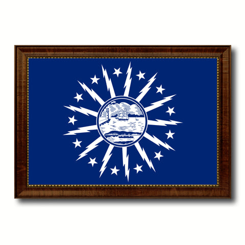 Buffalo City New York State Flag Canvas Print Brown Picture Frame