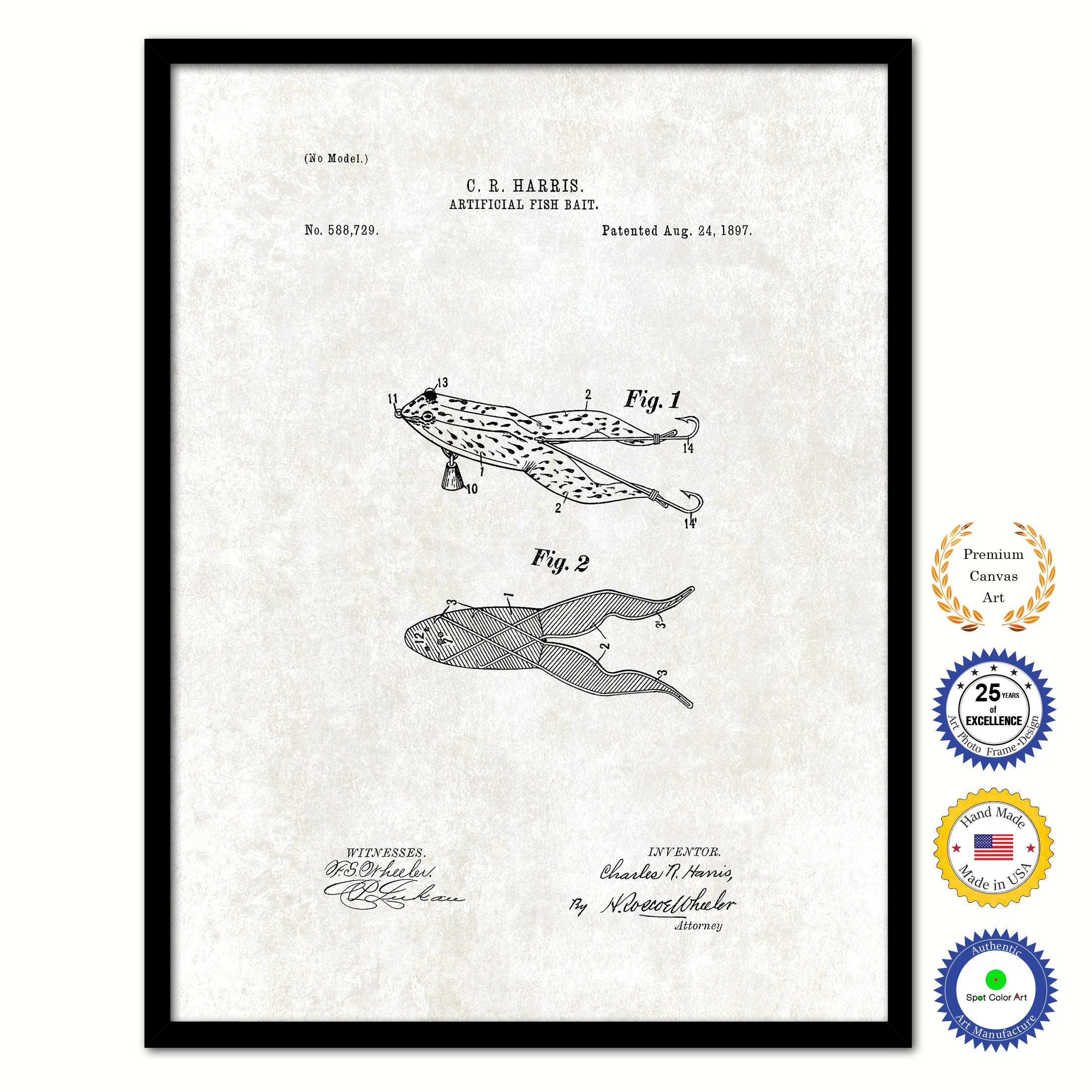 1897 Fishing Artificial Fish Bait Vintage Patent Artwork Black Framed Canvas Print Home Office Decor Great for Fisherman Cabin Lake House