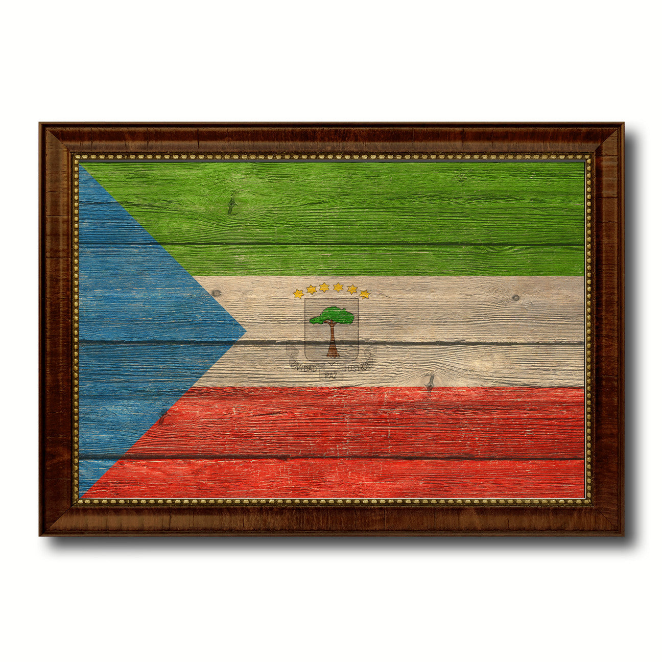 Equatorial Guinea Country Flag Texture Canvas Print with Brown Custom Picture Frame Home Decor Gift Ideas Wall Art Decoration