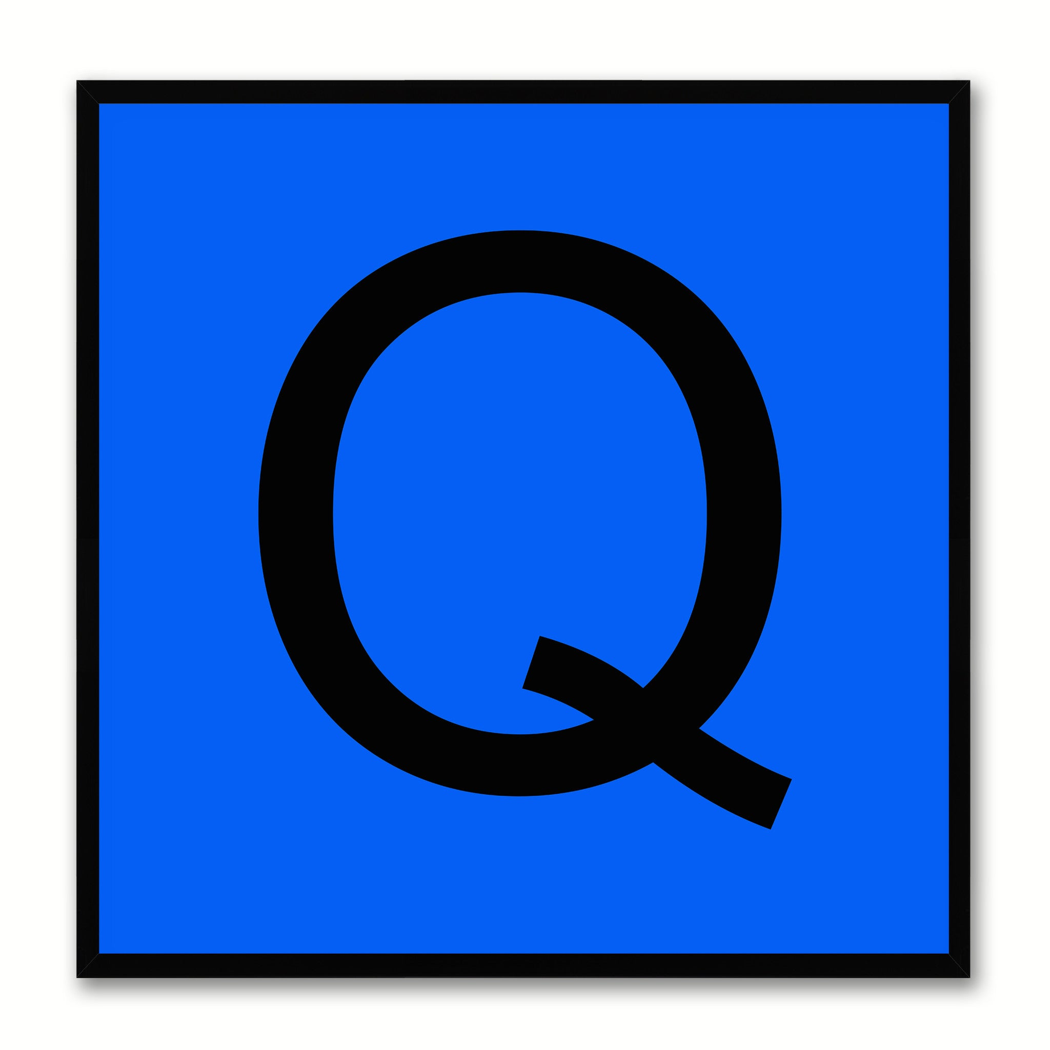 Alphabet Q Blue Canvas Print Black Frame Kids Bedroom Wall Décor Home Art