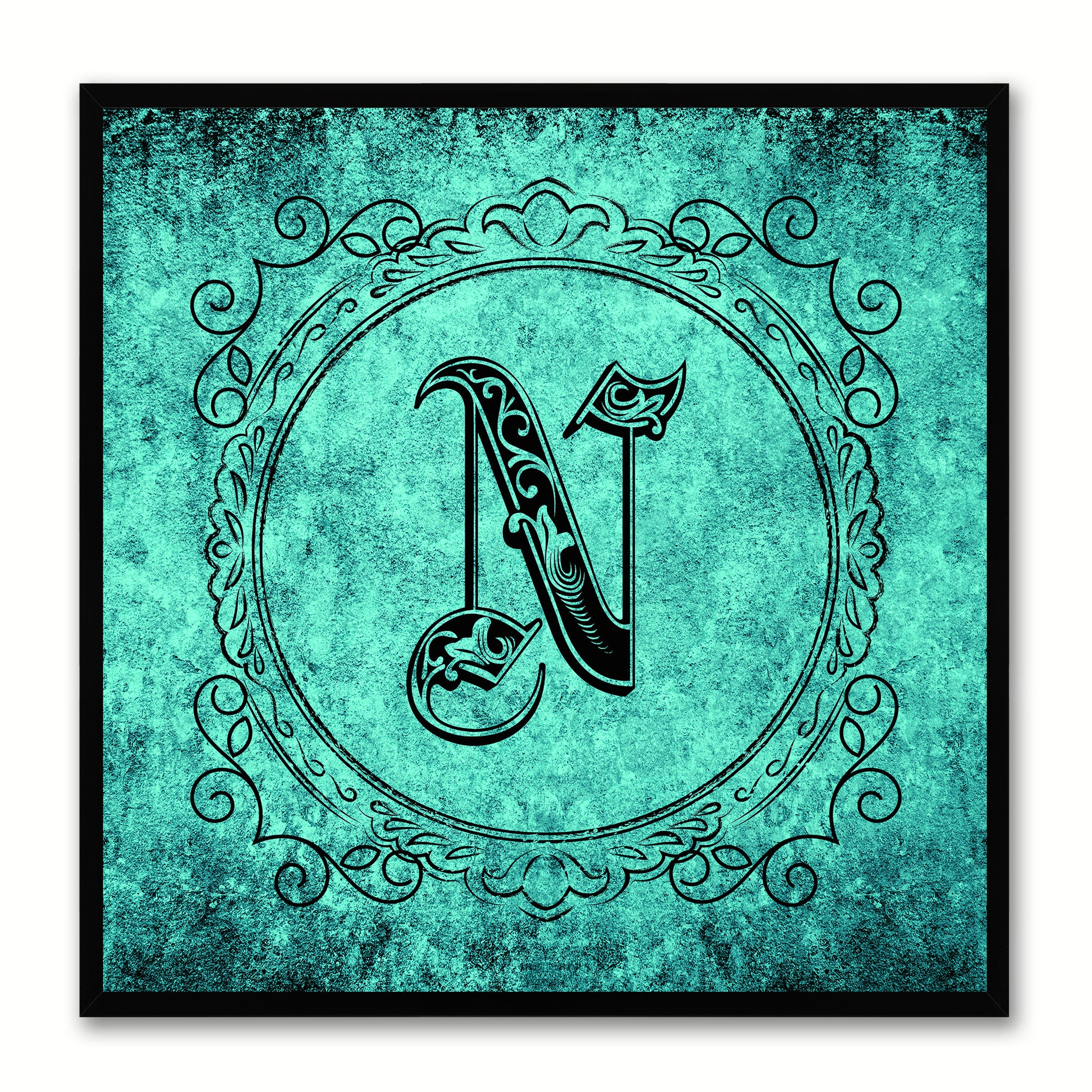 Alphabet N Aqua Canvas Print Black Frame Kids Bedroom Wall Décor Home Art