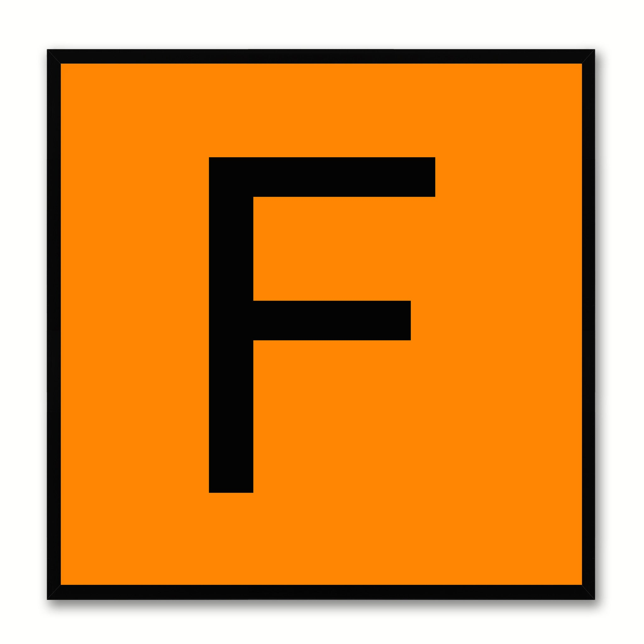 Alphabet F Orange Canvas Print Black Frame Kids Bedroom Wall Décor Home Art