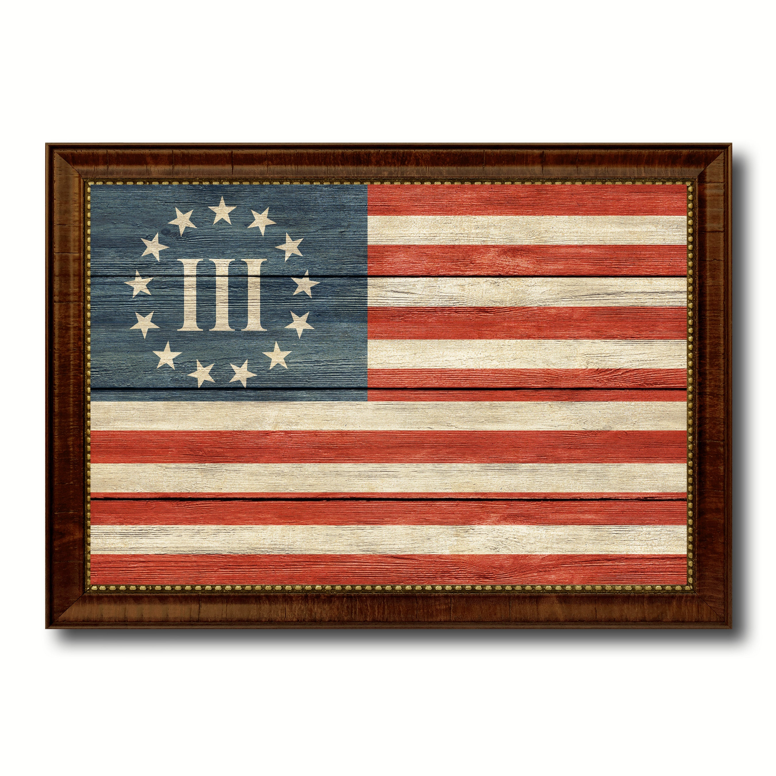 3 Percent Betsy Ross Nyberg Battle III Revolutionary War Military Flag Texture Canvas Print with Brown Picture Frame Home Decor Wall Art Gifts