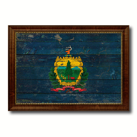 Vermont State Vintage Flag Canvas Print with Brown Picture Frame Home Decor Man Cave Wall Art Collectible Decoration Artwork Gifts