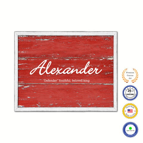 Alexander Name Plate White Wash Wood Frame Canvas Print Boutique Cottage Decor Shabby Chic