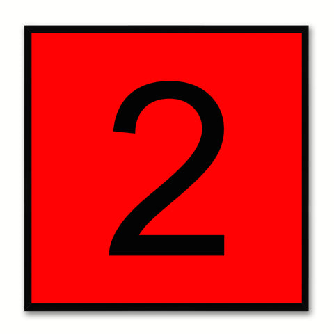 Number 2 Red Canvas Print Black Frame Kids Bedroom Wall Décor Home Art