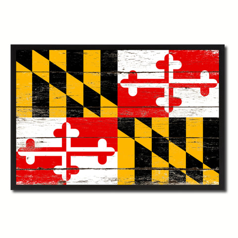 Maryland State Flag Vintage Canvas Print with Black Picture Frame Home DecorWall Art Collectible Decoration Artwork Gifts