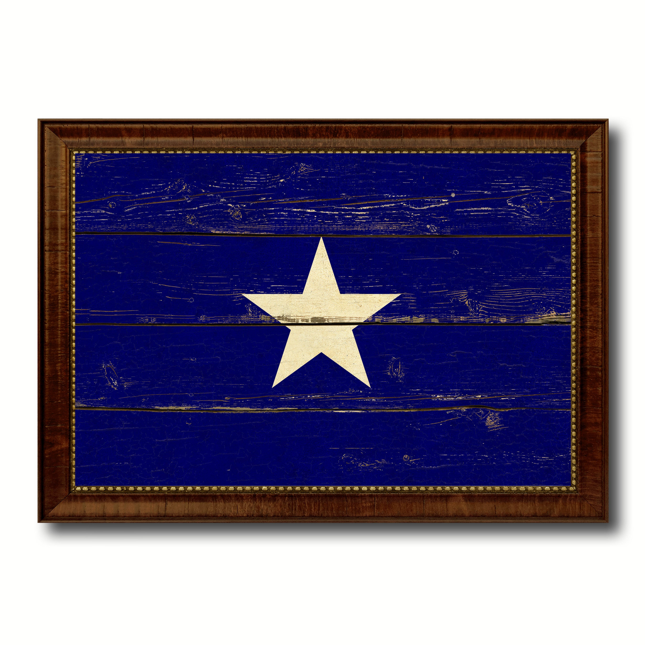 Bonnie Blue in Republic of West Florida Military Flag Vintage Canvas Print with Brown Picture Frame Gifts Ideas Home Decor Wall Art Decoration