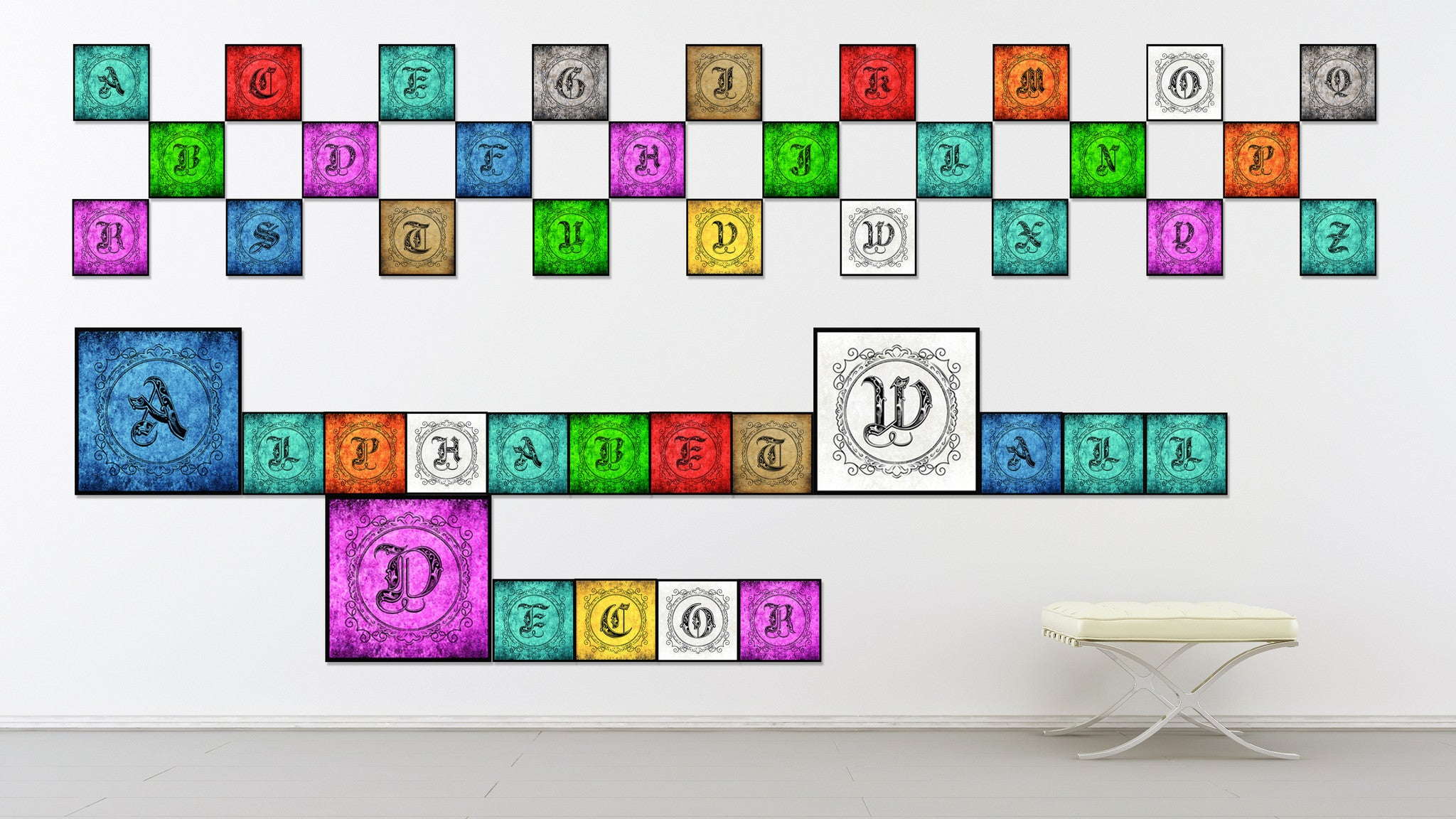 Alphabet W Yellow Canvas Print Black Frame Kids Bedroom Wall Décor Home Art