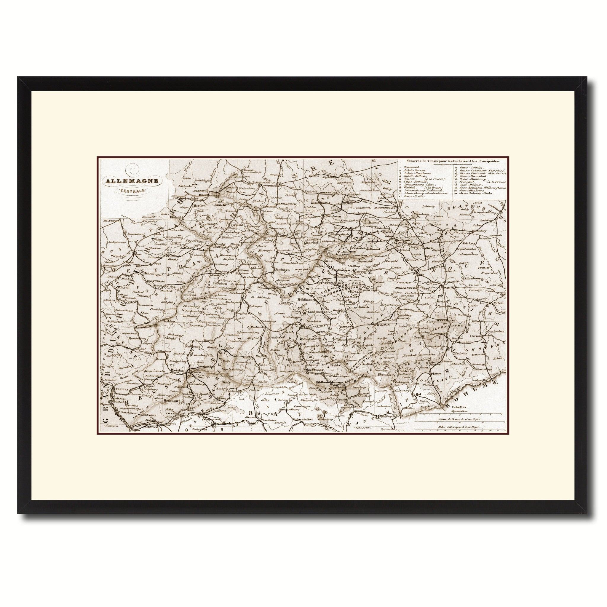 Central Germany Vintage Sepia Map Canvas Print, Picture Frame Gifts Home  Decor Wall Art Decoration