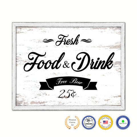 Fresh Food & Drink Vintage Sign Gifts Home Decor Wall Art Canvas Print with Custom Picture Frame