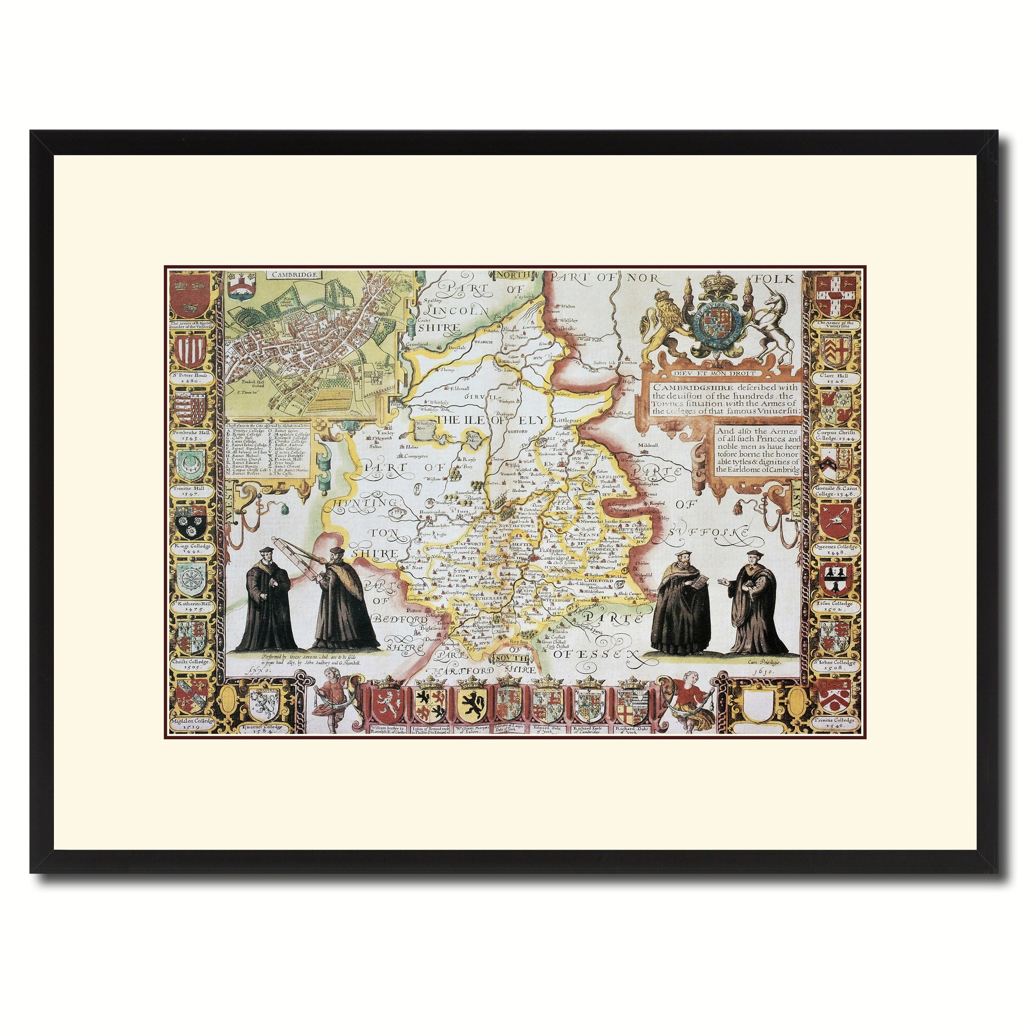 Cambridgeshire Vintage Antique Map Wall Art Home Decor Gift Ideas Canvas Print Custom Picture Frame