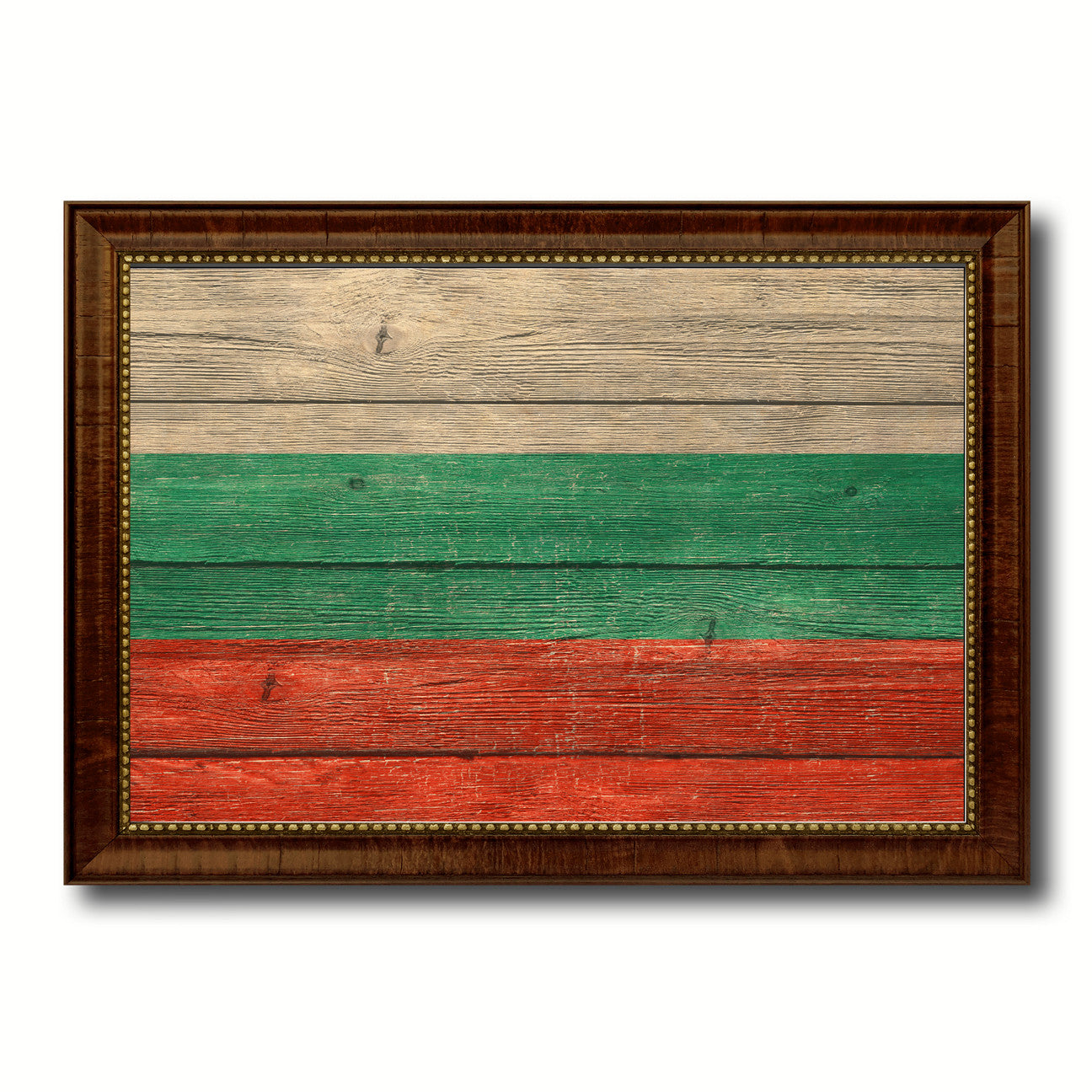 Bulgaria Country Flag Texture Canvas Print with Brown Custom Picture Frame Home Decor Gift Ideas Wall Art Decoration