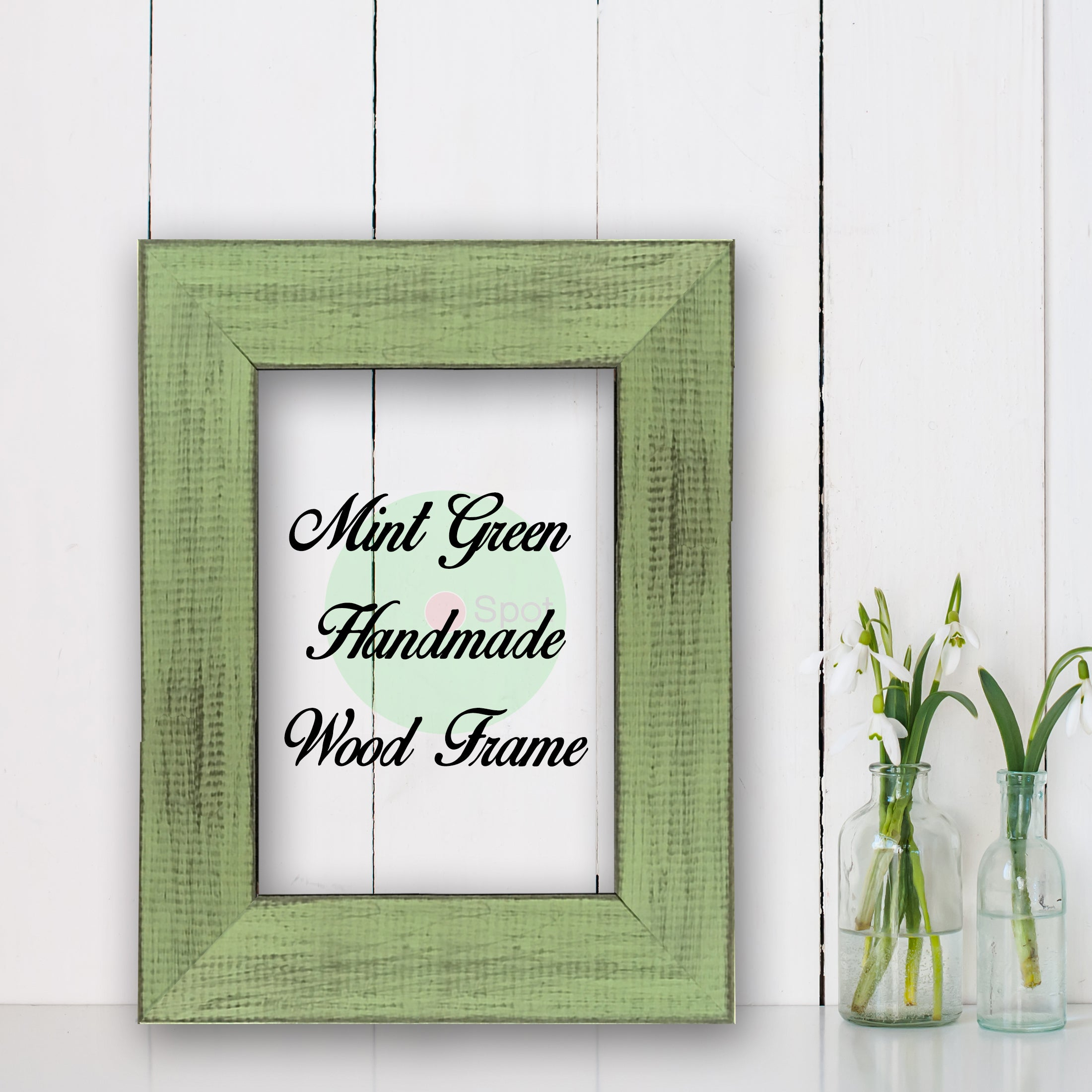 Mint Green Shabby Chic Home Decor Custom Frame Great for Farmhouse Vintage Rustic Wood Picture Frame