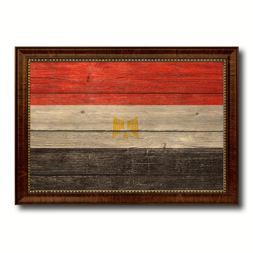 Egypt Country Flag Texture Canvas Print with Brown Custom Picture Frame Home Decor Gift Ideas Wall Art Decoration
