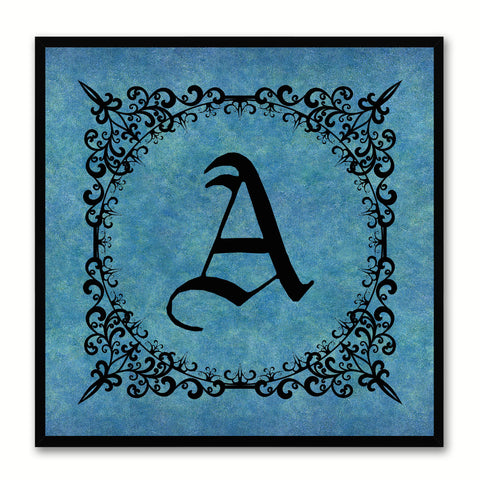 Alphabet A Blue Canvas Print Black Frame Kids Bedroom Wall Décor Home Art