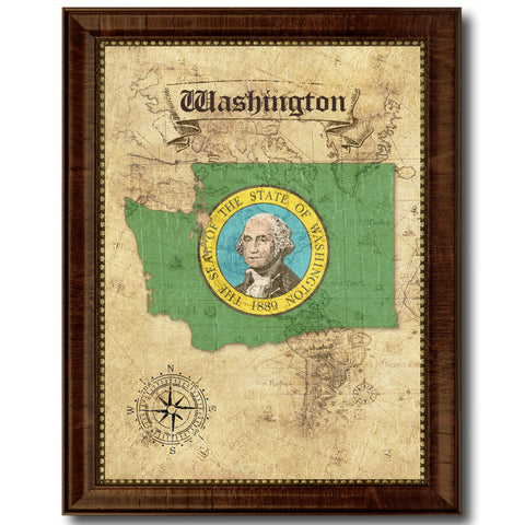 Washington State Vintage Map Home Decor Wall Art Office Decoration Gift Ideas
