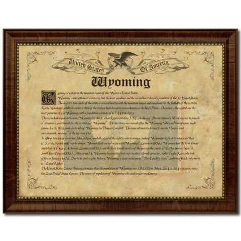 Wyoming Vintage History Flag Canvas Print, Picture Frame Gift Ideas Home Décor Wall Art Decoration