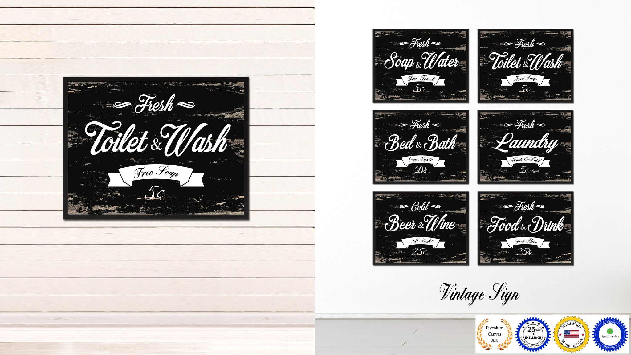 Fresh Toilet & Wash Vintage Sign Black Canvas Print Home Decor Wall Art Gifts Picture Frames