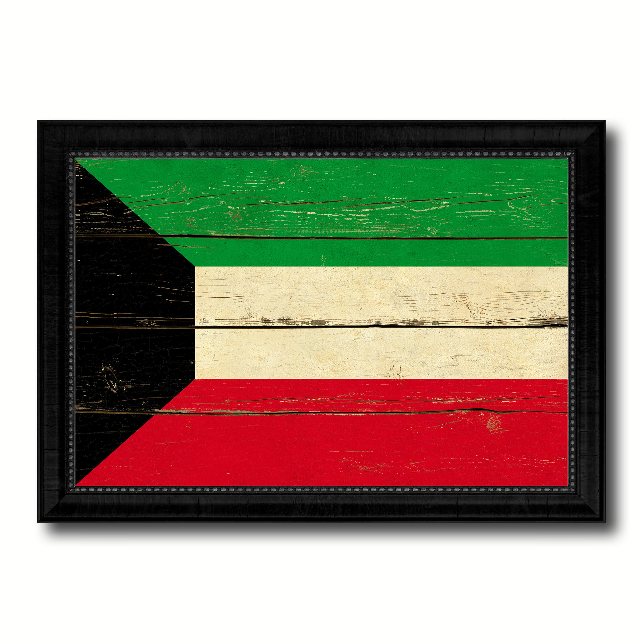 Kuwait Country Flag Vintage Canvas Print with Black Picture Frame Home Decor Gifts Wall Art Decoration Artwork