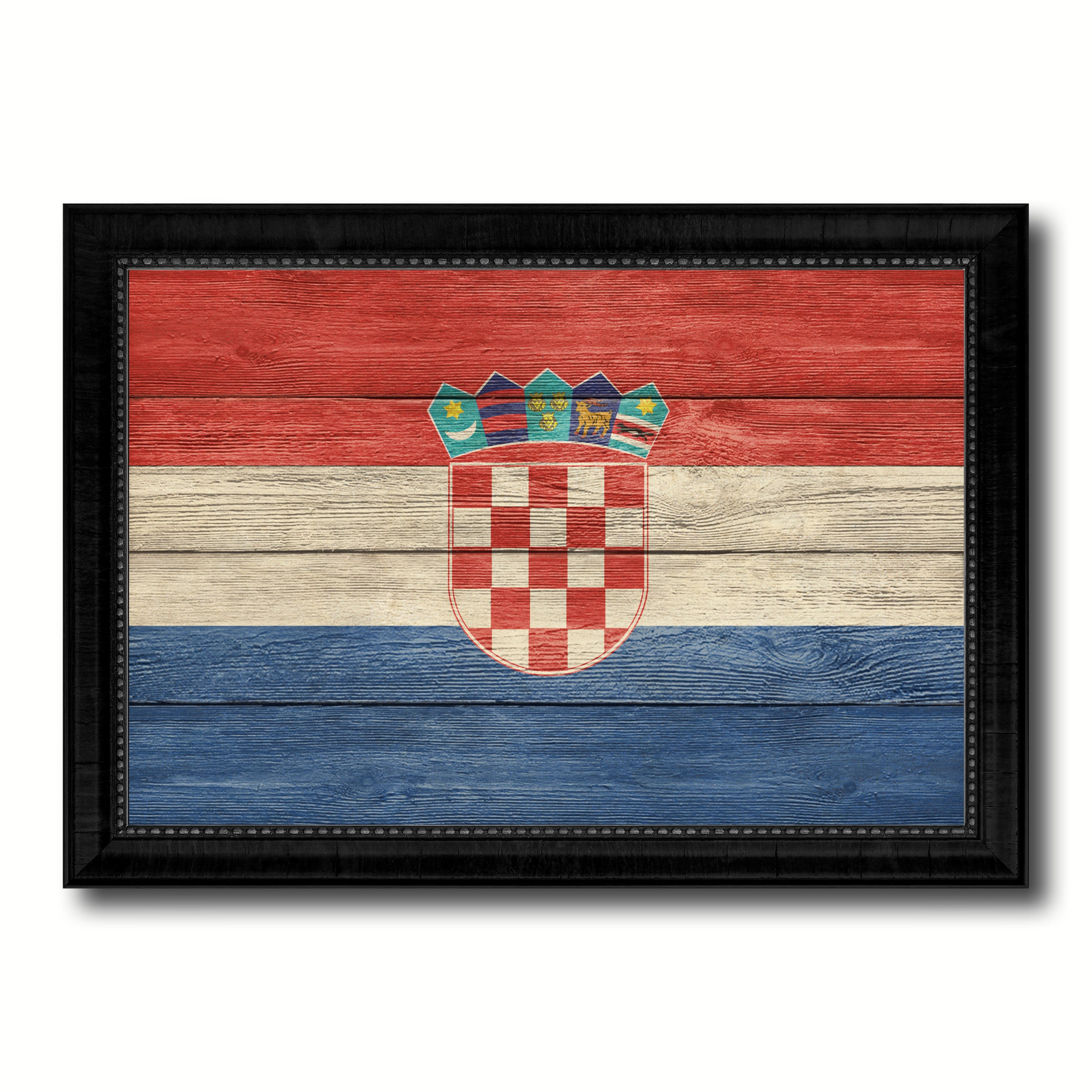 Croatia Country Flag Texture Canvas Print with Black Picture Frame Home Decor Wall Art Decoration Collection Gift Ideas