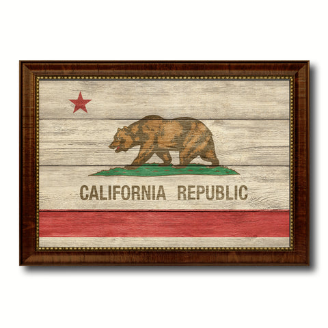 California State Flag Texture Canvas Print with Brown Picture Frame Gifts Home Decor Wall Art Collectible Decoration