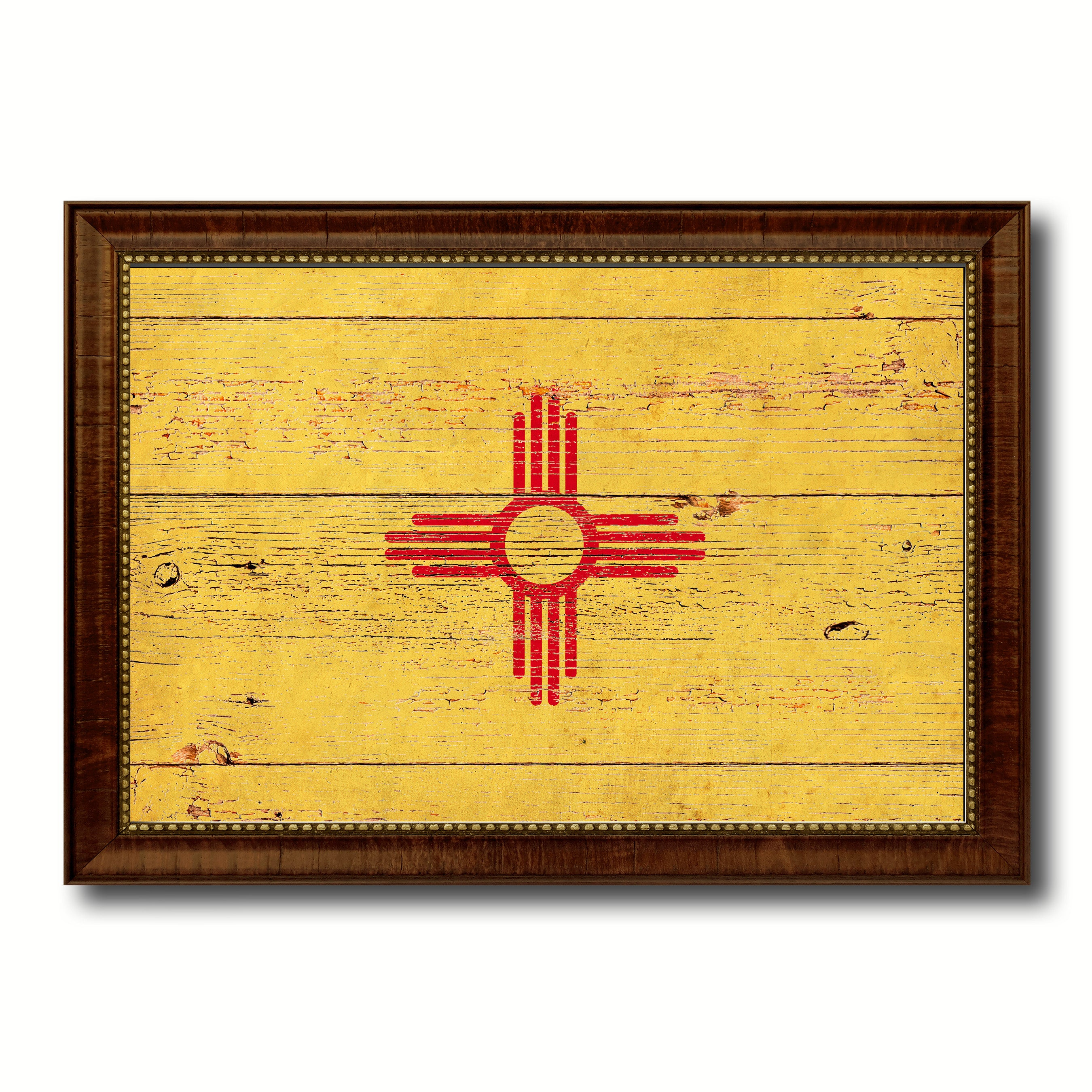 New Mexico State Vintage Flag Canvas with Black Print Picture Frame ...