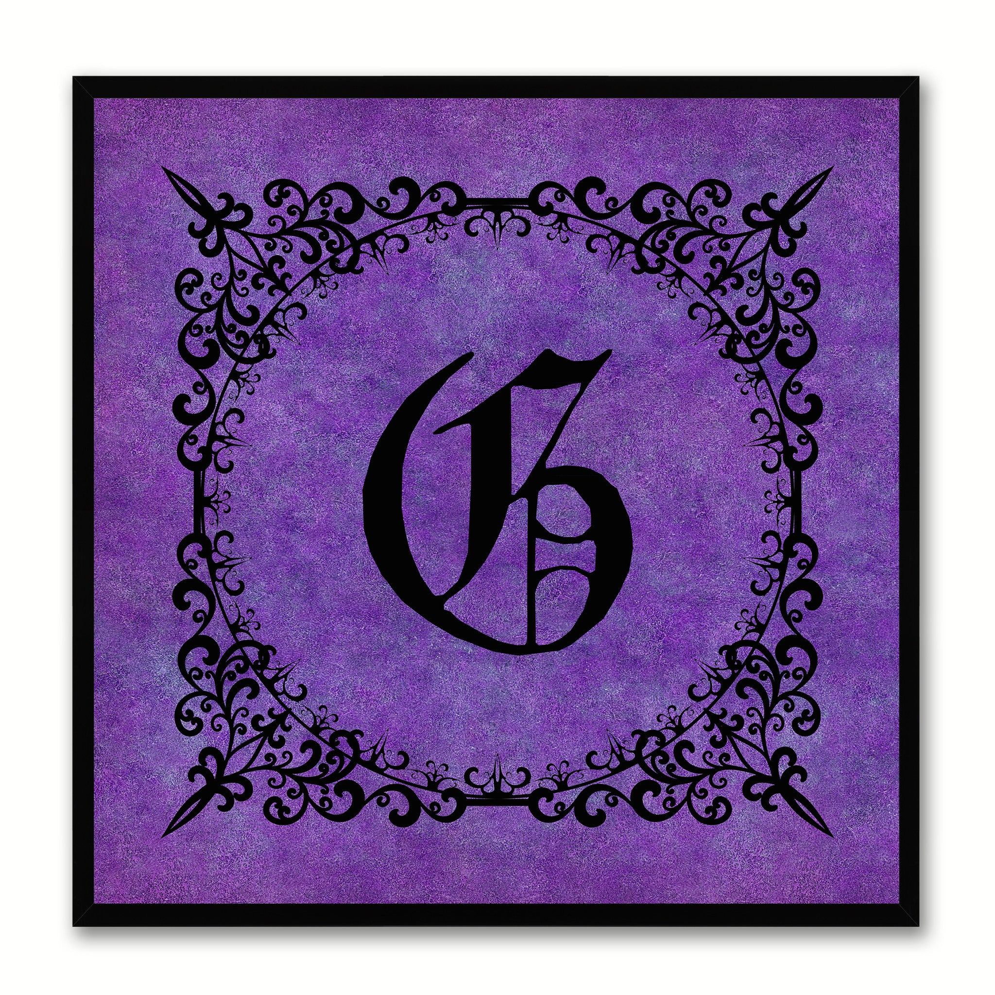 Alphabet G Purple Canvas Print Black Frame Kids Bedroom Wall Décor Home Art