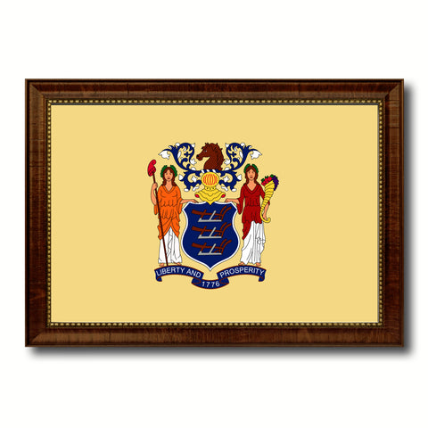 New Jersey State Flag Canvas Print with Custom Brown Picture Frame Home Decor Wall Art Decoration Gifts